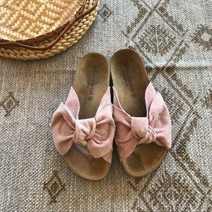 Jeffery Campbell Sunmist pink suede big bow slides